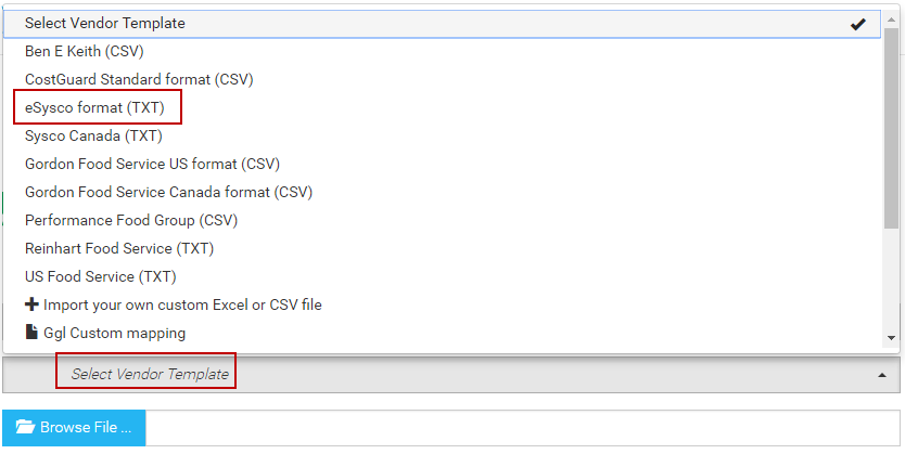 Choose Browse File And Select Your Vendor Order Guide